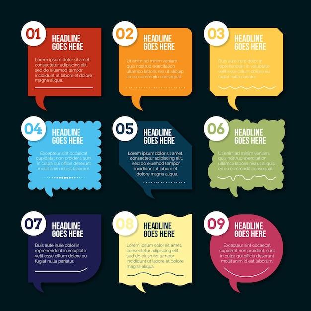 Infographics di bolle di discorso piatto Vettore gratuito