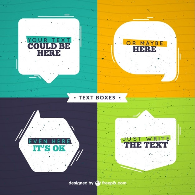 Flat speech bubbles set with text  Premium Vector