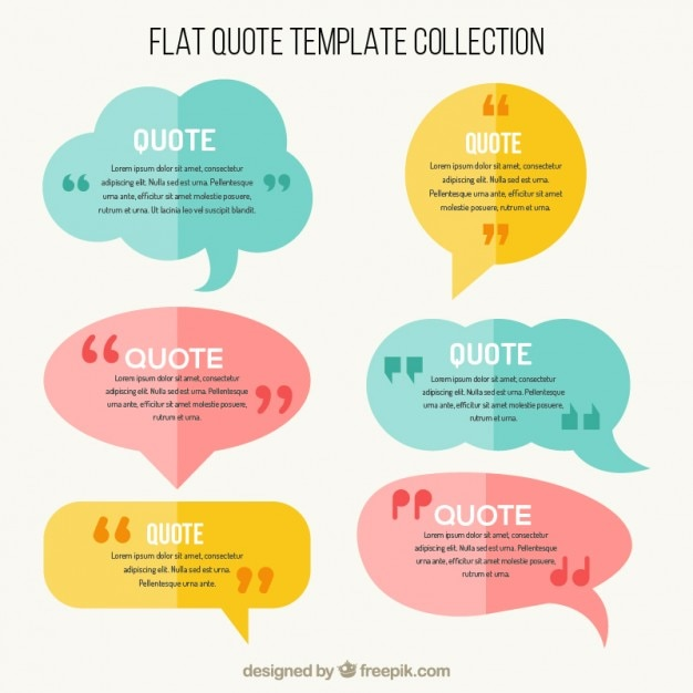 flat speech bubbles with quote template vector free download