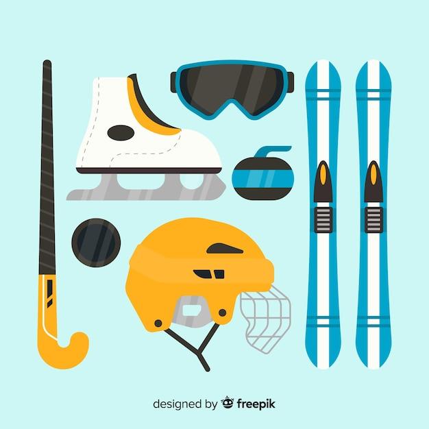 Flat sport accessories Free Vector