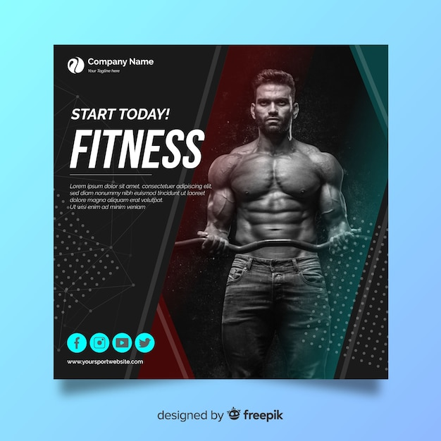 Flat sport banner with photo Free Vector