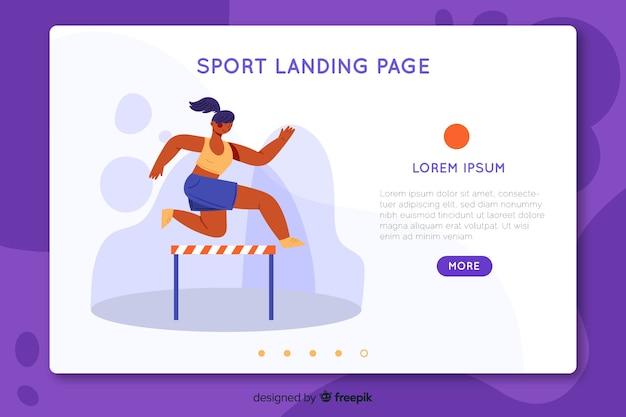 フラットスポーツランディングページテンプレート 無料ベクター
