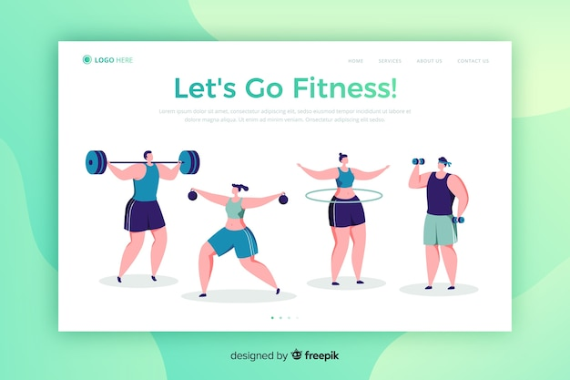 Flat sport landing page template Free Vector