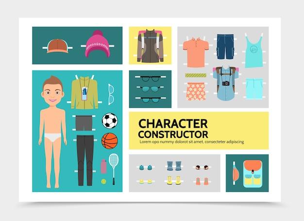 少年シャツショートパンツスニーカーとフラットスポーツ男キャラクターのインフォグラフィック 無料ベクター