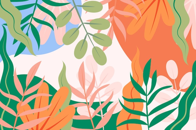 Flat spring background with colourful leaves Free Vector