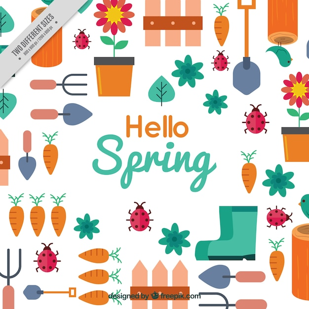 Flat spring background with gardening items | Free Vector