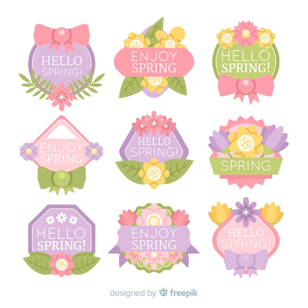 Flat spring badge collection Free Vector