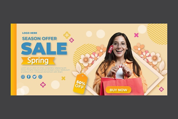 Flat spring banner template with discount Free Vector