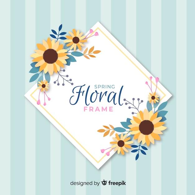Flat spring floral frame Premium Vector