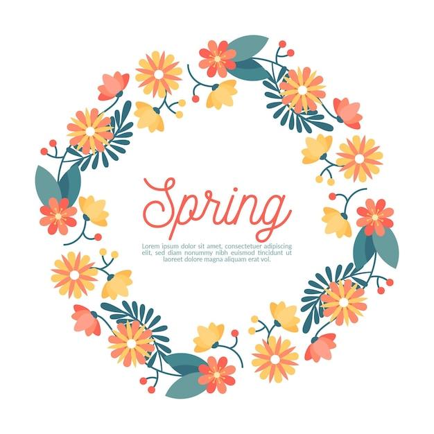 평평한 봄 꽃 프레임 무료 벡터