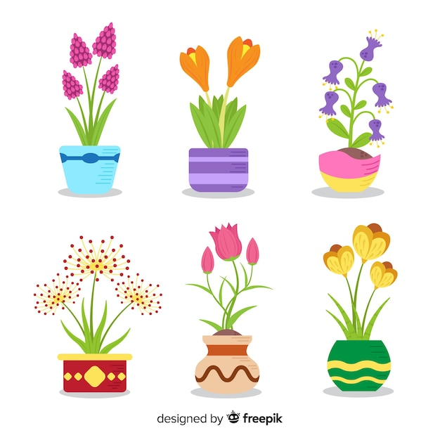 Flat spring flower collection Free Vector