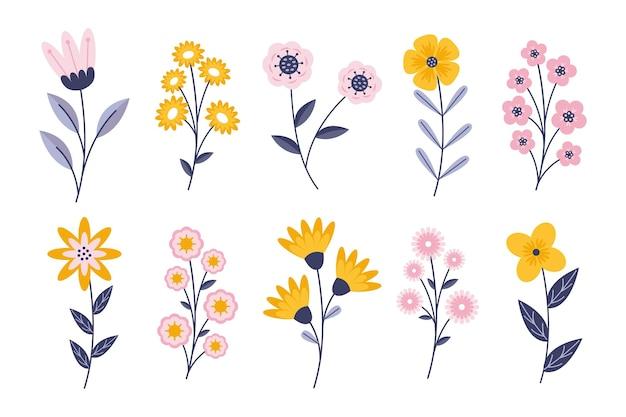 Collezione di fiori primaverili piatti Vettore gratuito