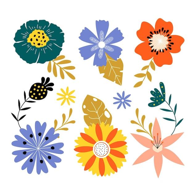 평평한 봄 꽃 모음 무료 벡터