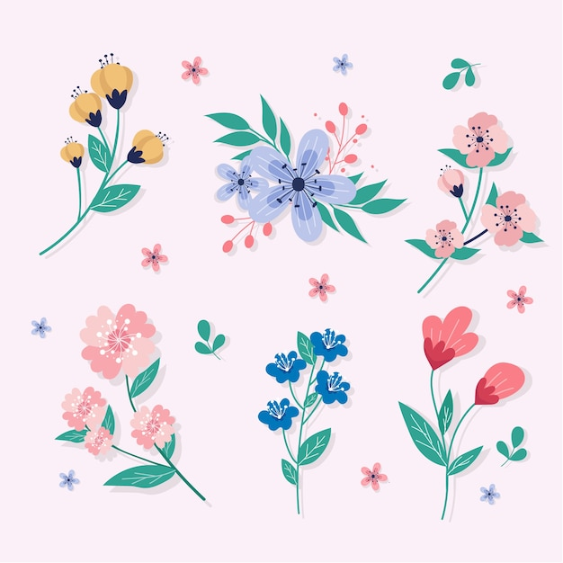 Flat spring flowers collection Free Vector