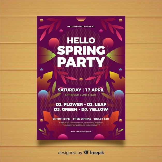 Flat spring garden party poster Free Vector