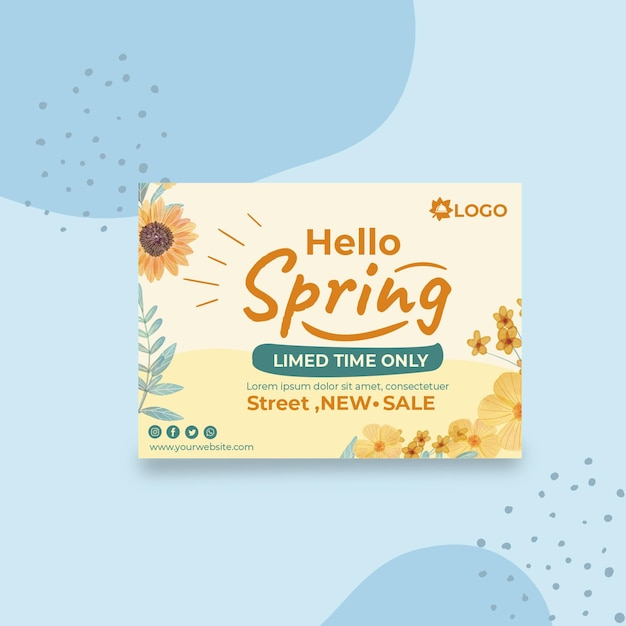 플랫 봄 인사말 카드 서식 파일 무료 벡터