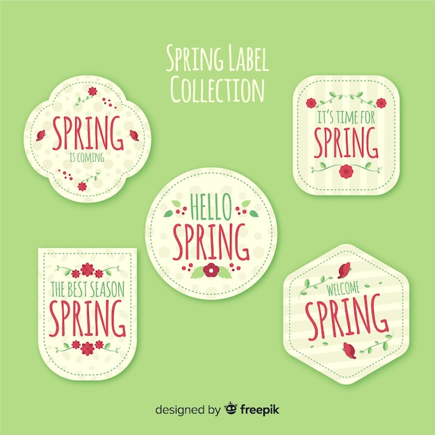 Flat spring label collection Free Vector