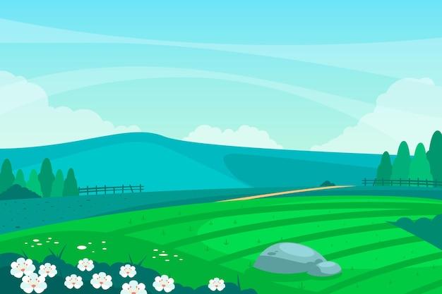 青い空と平らな春の風景 無料ベクター