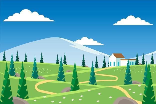 집으로 평평한 봄 풍경 무료 벡터