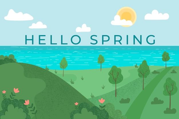 Плоский весенний пейзаж с надписью Бесплатные векторы