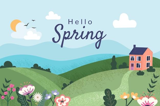 レタリングと平らな春の風景 無料ベクター