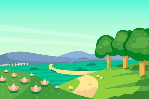Плоский весенний пейзаж Бесплатные векторы