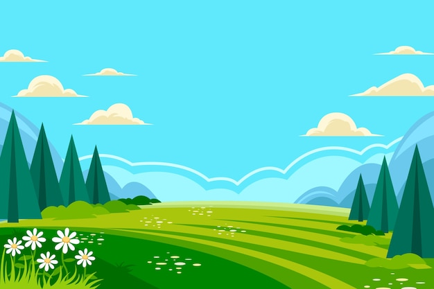 Flat spring landscape Free Vector