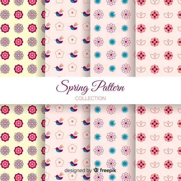 Flat spring pattern collection Free Vector