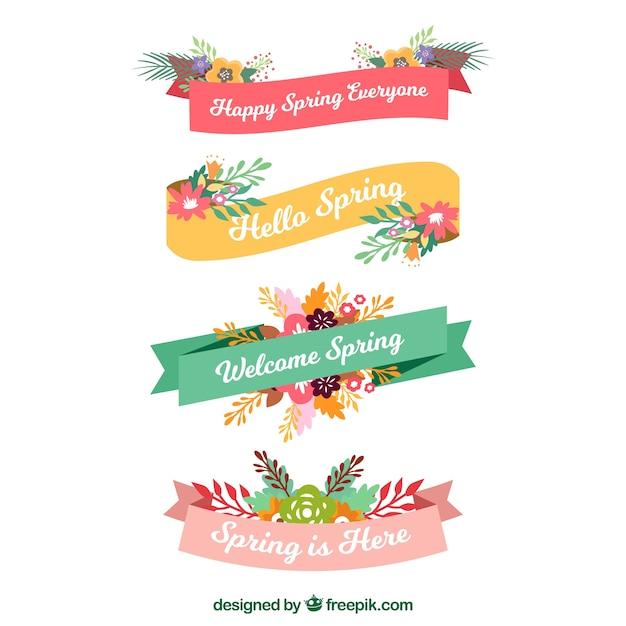 Flat spring ribbon collection Free Vector