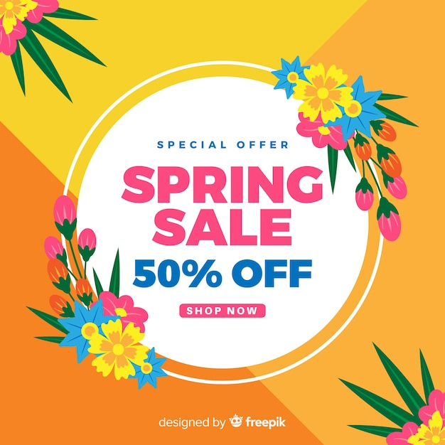 Flat spring sale ackground Free Vector