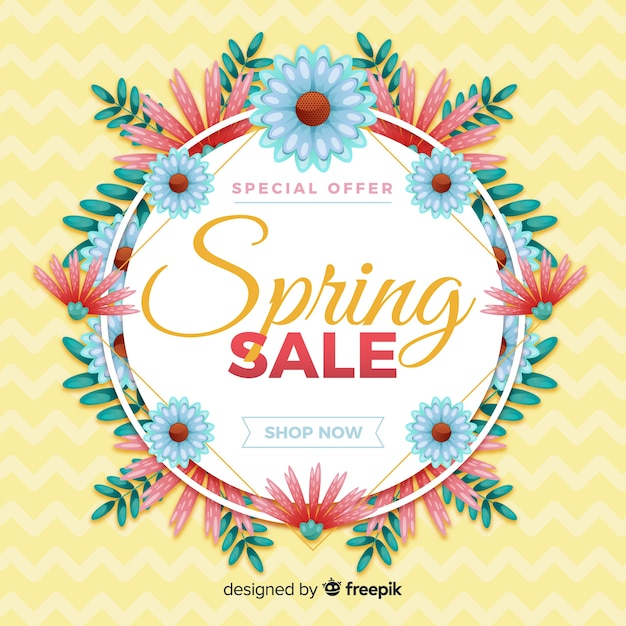 Flat spring sale background Free Vector
