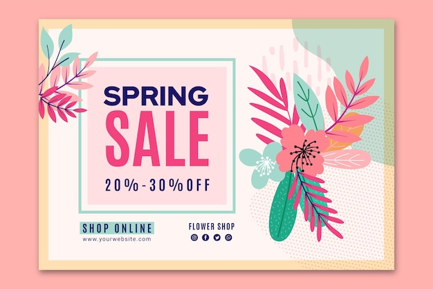 Flat spring sale banner template Free Vector