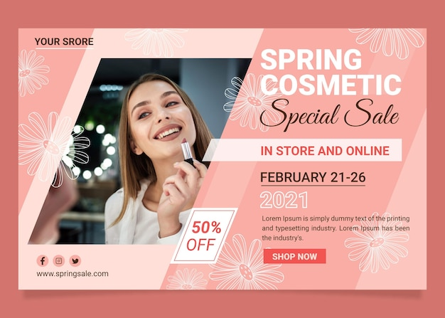 Flat spring sale banner Free Vector