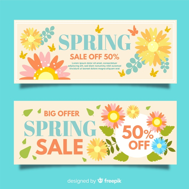 Flat spring sale banners Free Vector