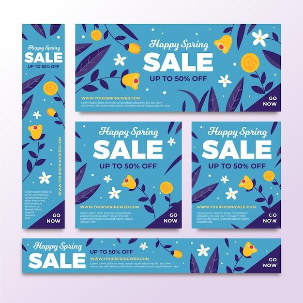 Плоские весенние распродажи баннеров Бесплатные векторы