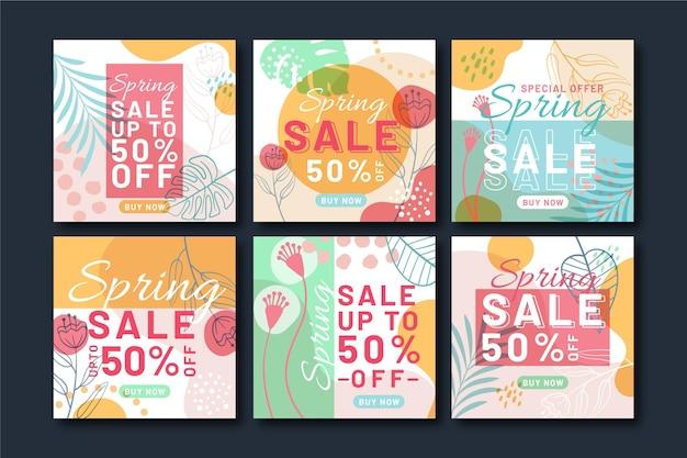 Set di post instagram vendita primavera piatta Vettore gratuito