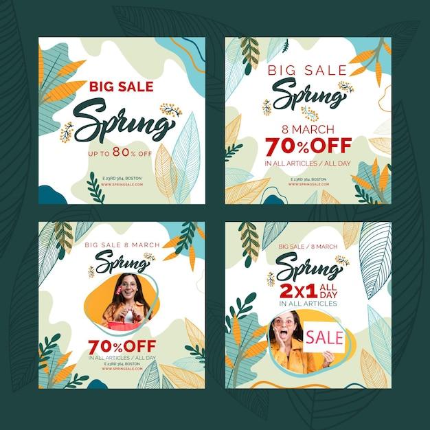 평범한 봄 판매 instagram posts 무료 벡터
