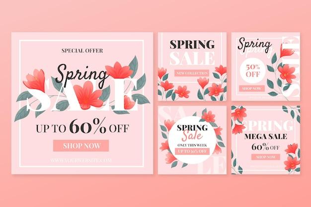Post di instagram di vendita di primavera piatta Vettore gratuito