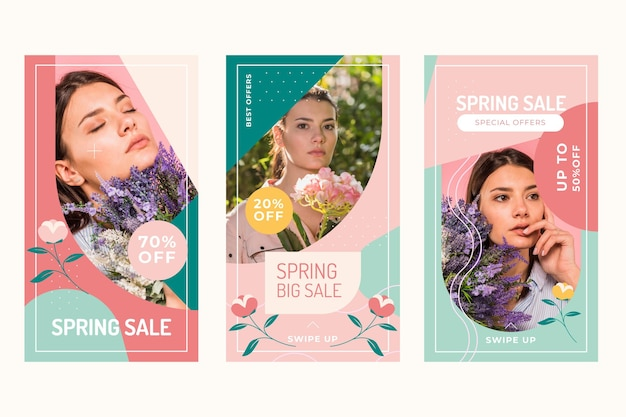 Flat spring sale instagram stories collection Free Vector
