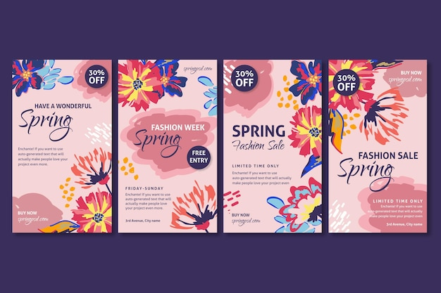 Flat spring sale instagram stories Free Vector