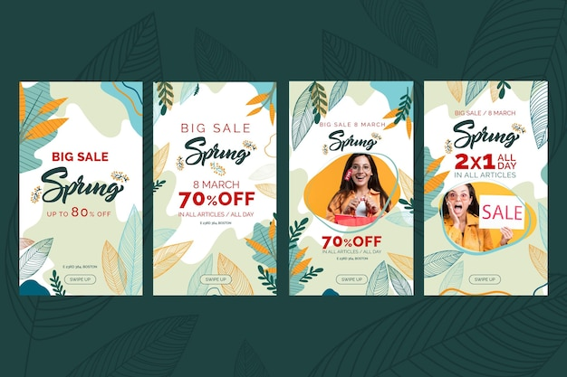 Flat spring sale instagram stories Free Vector