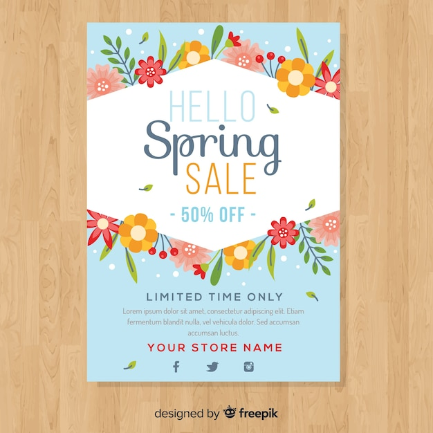 Flat spring sale poster Free Vector
