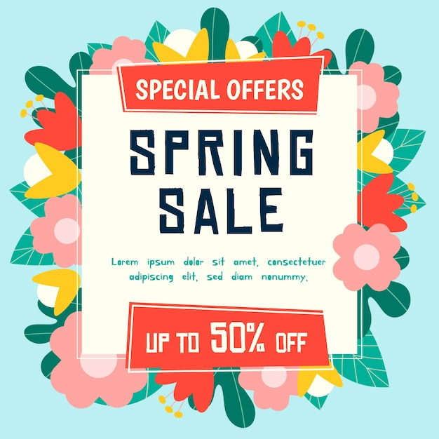 Flat spring sale with blooming offers Free Vector