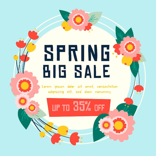 Flat spring sale wreath with flowers and leaves Free Vector