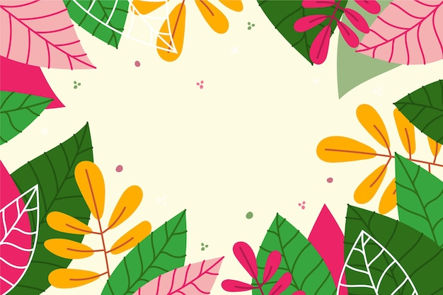 Flat spring wallpaper with colourful leaves Free Vector