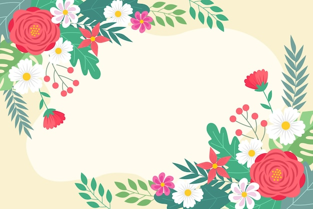 Flat spring wallpaper with empty space Free Vector