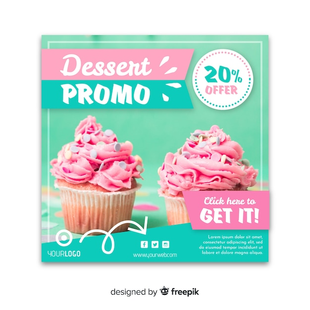 Flat square food photographic banner Free Vector