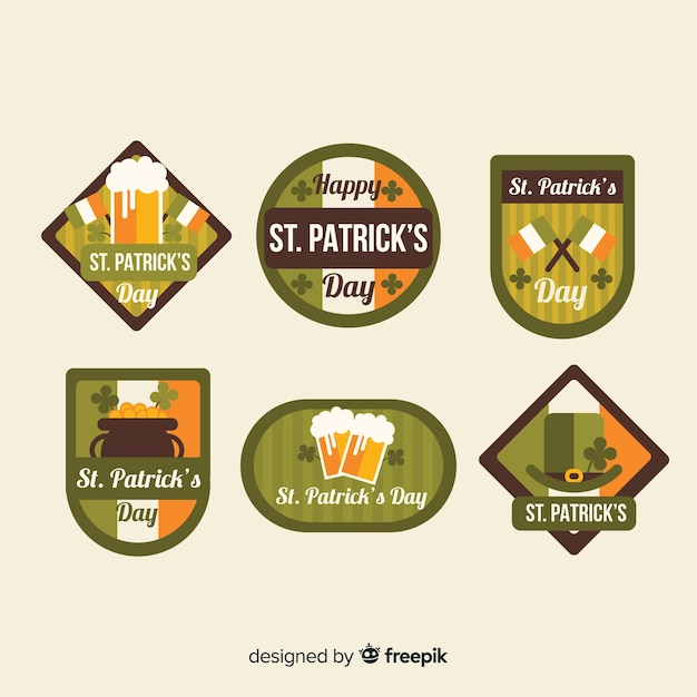 Flat st. patrick's day badge collection Free Vector