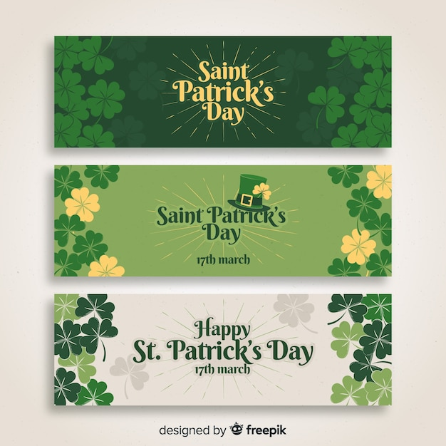Flat st. patrick's day banner Free Vector