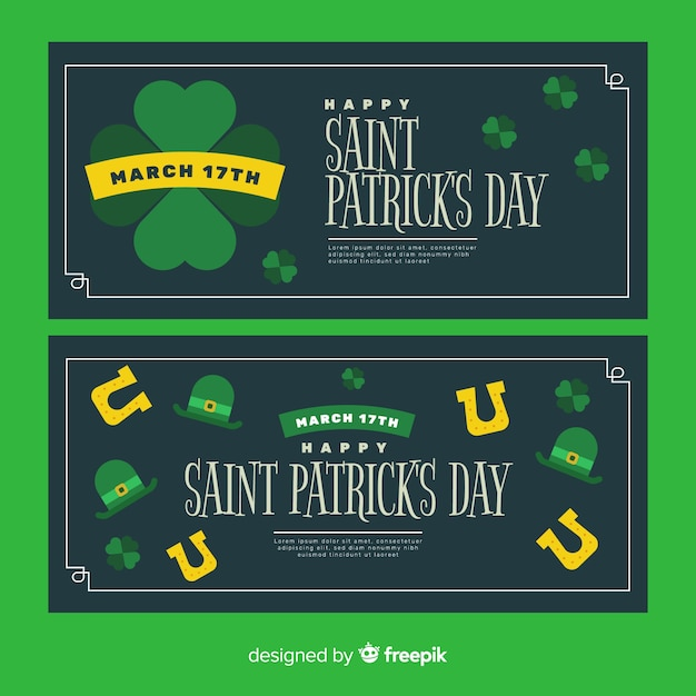 Flat st. patrick's day banners Free Vector